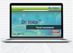 Laptop computer drawing with the screen up and showing the launch page for the Dr. Voice Vocal Assessment application.