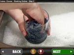 """An image of someone washing a glass in the sink with their hands. Below, there are """"back"""" and """"next"""" menu buttons."""