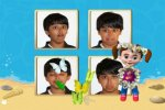 Screenshot of an animated beach scene with a children's character standing in front of four different images of a teenage boy with different facial expressions in each.