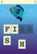 Screenshot of a colorful drawing of a smiling fish in water-centered near the top of the image with blocked letters spelling the word fish below it.