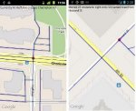 Two screenshots of maps and street intersections.