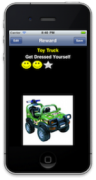 """Picture of an iPhone showing app display a reward screen with a green toy truck and the task title """"GetDressed Yourself""""."""