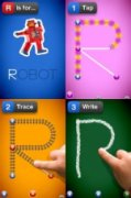 Screenshot divided into four blocks, with upper left block showing a robot and the other three blocks showing the sequence of steps taken to trace the letter R.