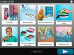 Screenshot showing a 2x4 grid of images of everyday safety-related situations with a descriptive word underneath them.
