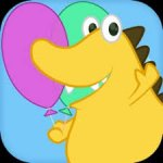 Colorful square image of a drawing of a smiling dinosaur holding two balloons.