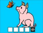 Drawing of a pink pig against a light blue background looking at a butterfly and sitting on five small squares.