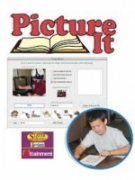 Software name and logo on top with a screenshot of the program's menu in the middle and a round cut out in the lower right featuring a picture of a boy holding a pencil and reading a book.
