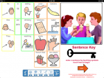 Drawing of three children sitting at a table each ice cream cones and a series of communication images on the left and the word sentence key below them.