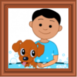 A framed drawing of a young boy with black hair giving a small brown dog a bath.