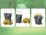 Screenshot of three image tiles of a bucket with sunflowers in front of, next to, and behind it.