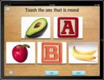 Screenshot of language development screen showing five images and a prompt to select the one that matches the question.