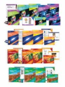 Image of four rows of workbook and booklet sets for the science curriculums covered.