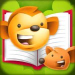 Large square cartoon drawing of two smiling animal faces with an open book in the background.