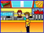 Drawing of teenage boy standing at the counter of a fast food restaurant.