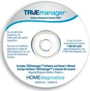 """A white CD with grey and blue accents, reading """"Truemanager"""" in blue font at the top and various marketing language in smaller print underneath."""