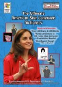 Picture of a woman in a red blouse using sign language with various drawings of other people using sign language around her.