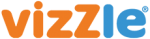 Logo, with large orange letters for viz, followed by an orange uppercase L, and then lowercase le in blue.