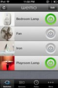 Screenshot showing menu of controllable devices, including a bedroom lamp, a fan, an iron, and a playroom lamp.