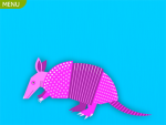 Drawing of a pink armadillo against a light blue background.