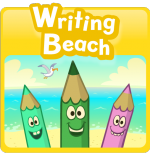 Square image of a colorful drawing of three pencils with smiley faces with a beach behind them.