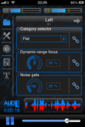 Screenshot of a settings control panel with three sound controls and a frequency graph along the bottom.