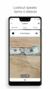 Amobile phone screen is featured in whichafive-dollar bill is pictured under the camera tab, with text above that says 5 US Dollars.