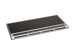 A slender, black rectangular device lined in gray around the edges with black braille keys at the bottom.