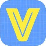 Rounded light blue square with grid-like pattern in background with a large, yellow letter V in the center.