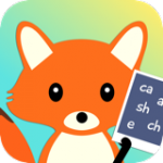 Rounded square cartoon drawing of an orange fox holding a tablet with letter combinations on the screen.