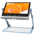 Video display showing a cut orange attached to a stand with a flat surface below.
