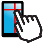 Drawing of a white hand outlined in black with the index finger touches a smartphone with a grid on it.