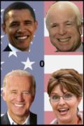 A screenshot of four quadrants, each with a photo of an American politician, including Barack Obama, John McCain, Joe Biden, and Sarah Palin.