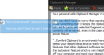 A screenshot of text in a blue window being dragged from the clipboard manager.