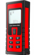 A bright red rectangular device is comparable to the size of a mobile phone. 1/3 of the face is a viewing screen and below that are buttons. The device is in a protector case.