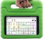 A green carrying case with a handle and a tablet inside featuring the TalkTablet Speech App menu screen. The screen features word choices with corresponding illustrations.
