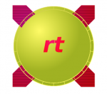 "A large green circle with ""rt"" written in red lower case letters. Extending beyond the green circle, imaged in the background, is a large thick red ""X""."