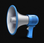 A handheld megaphone trimmed in blue.