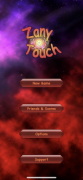 Menu options on a red and purple background, including new game, friends and scores, options, and support.