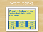 Various word choices such as shells, sand, and waves below a yellow text box with a sentence in it.