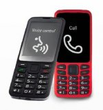 A black and a red cell phone with raised number pads.