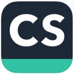 """CamScanner logo featuring a dark gray slate-colored square with rounded corners with the bottom fifth of it blue-green. On it are the thick white capital letters: """"C"""", """"S""""."""