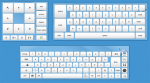 A front view of three virtual computer keyboards, two with letters and numbers, and one mainly featuring directional arrows.
