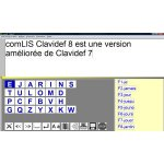 The Clavidef8 onscreen keyboard in the EJARIN layout with words listed in a column on the right. On the bottom line is a menu with buttons for word processing functions, like return, delete forward, delete back, capitalize, save, stop, etc.