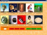 A 5x2 grid of real-life pictures of items and activities with the associated word written below in French, The bottom row has 3 red and 3 green buttons. The pictures are of a tree, an armoire, a watering can, an artichoke, a small boy using a watering can.