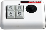 A small rectangular device with 4 buttons in a 2x2 layout with a mouse or double mouse drawn on them and a right or left click highlighted. Above these buttons is a led light indicator, and, to their right is a small trackball.