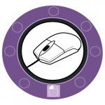 A drawn computer mouse in the center of a clock-like circle with 8 segment markings and a mouse with a left-click highlighted in the 6:00 position.