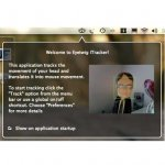 """The welcome page of the Eyetwig iTracker. It has a brown background with a white font and a webcam pic of a man with a green square drawn around his head. The text says to start tracking by clicking the """"Track"""" option from the menu bar or to use """"Preferences"""". An arrow points to a drawing of an eye on the menu bar in the top header."""