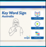 """An iPad's screen with a white background and with """"Key Word Sign Australia"""" written in blue in the top left corner. Under this is a simple line drawing of a person signing. To the right are 3 menu options: Create a book, view videos, and create a grid. Above each is a drawn open book with dashes of color for text, a play arrow inside a circle, and a 3x3 grid of colorful rectangles."""