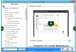 Software Medialexie Reader in French. There is a contents page on the left with a search bar at the bottom. On the right is a video start play button and the label Create a Profile Tutorial.