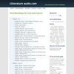 "A web page titled ""litteratureaudio.com"" in French with the header ""Our Library Of Free Audio Books"" and an option of 21 pages. There are two categories: Art and Adventure. Each category is followed by an alphabetical listing by the author's last name."